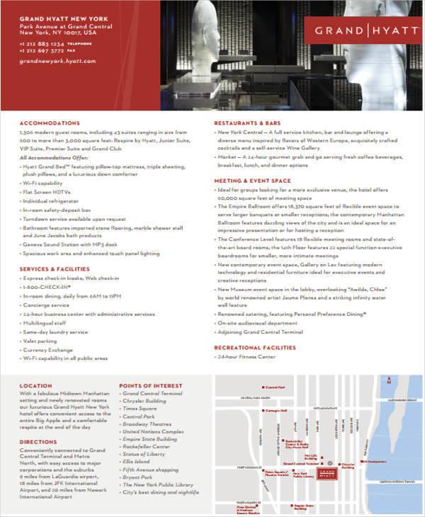 hotel detail sheet