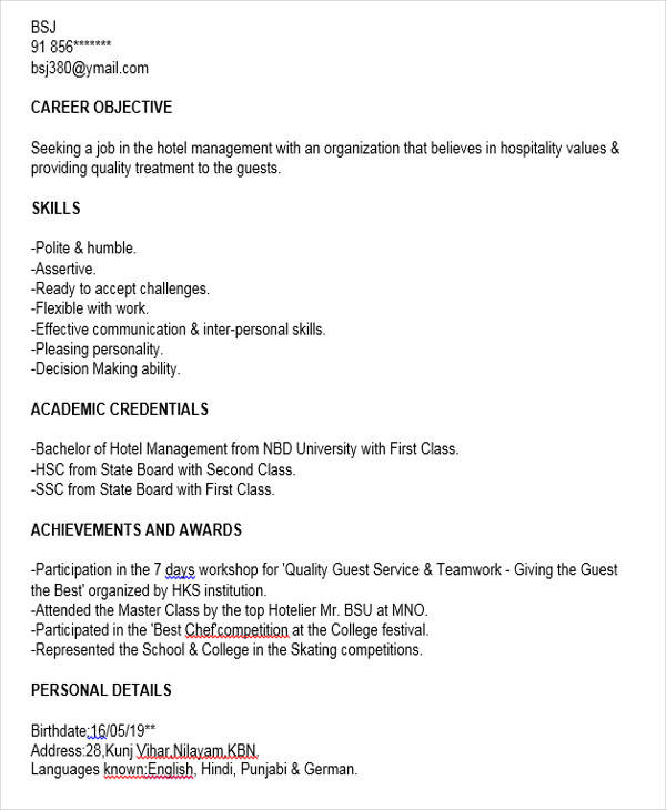 Sample Resume Of Hotel Management Fresher - Template