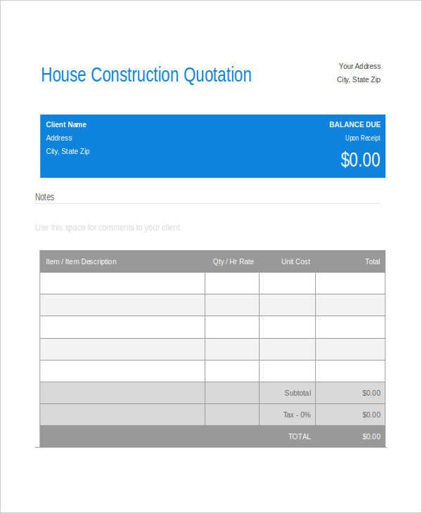 house construction quotation1