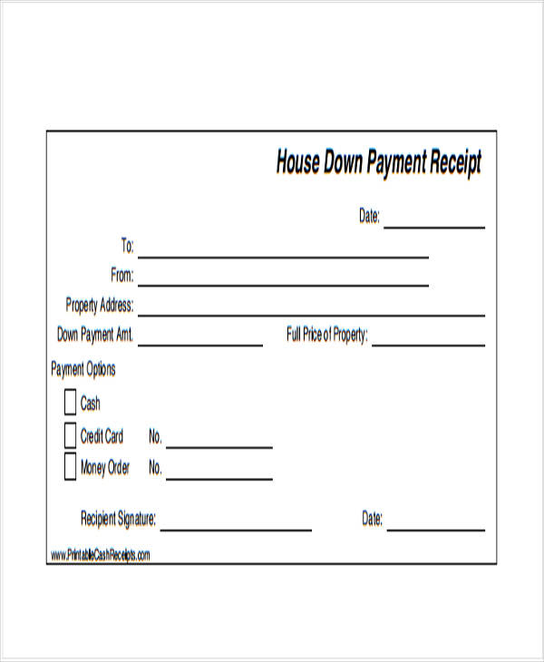 37 Payment Receipt Samples – Down Payment Receipt