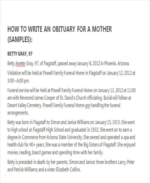 34 Sample Obituary