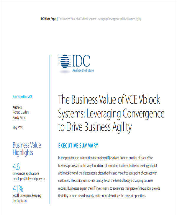 idc business value white paper