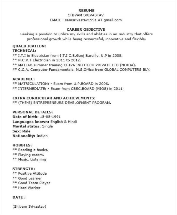 40+ Fresher Resume Examples | Sample Templates