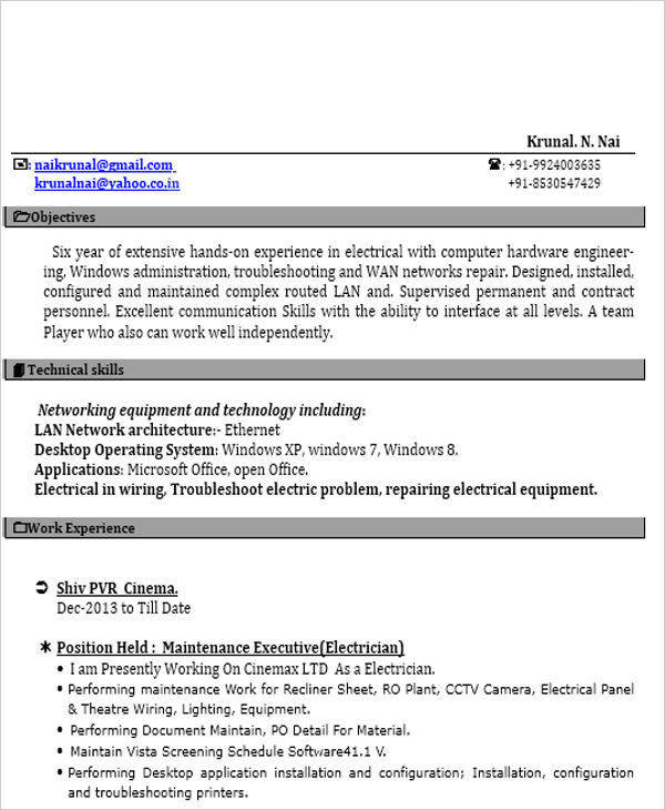 iti resume format in word