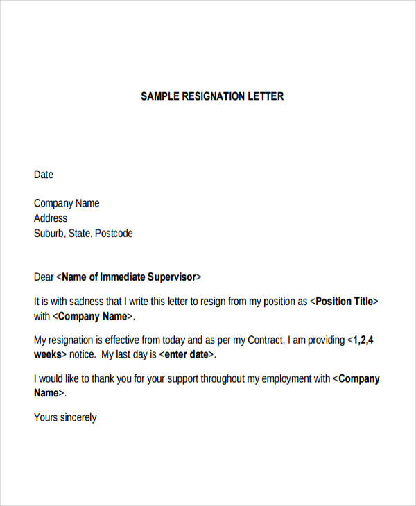 immediate company resignation letter