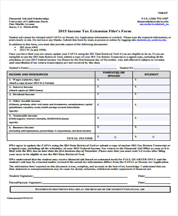 Income Tax Extension Form Format