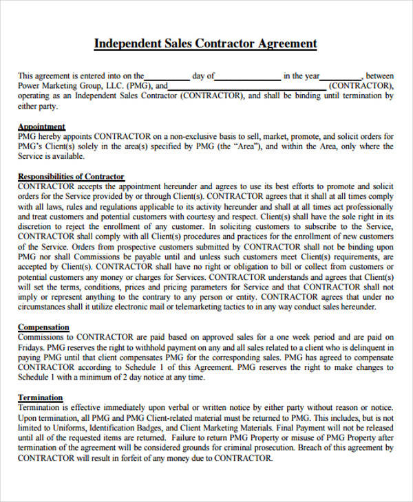 independent sales contractor agreement