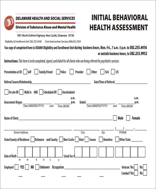 initial behavior health assessment form