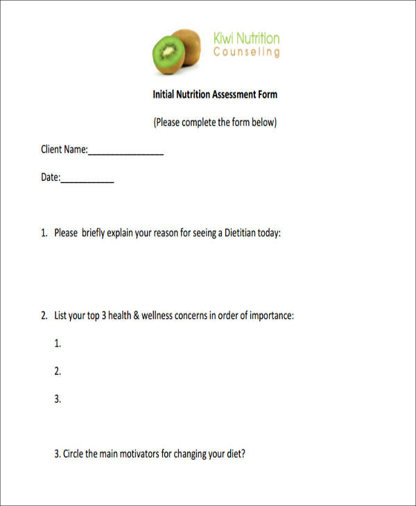initial nutrition assessment form