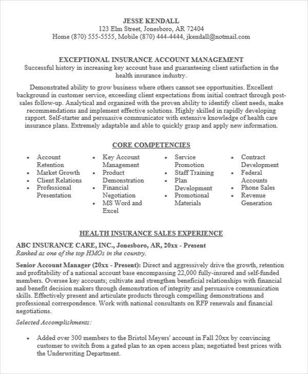 national account manager resumes