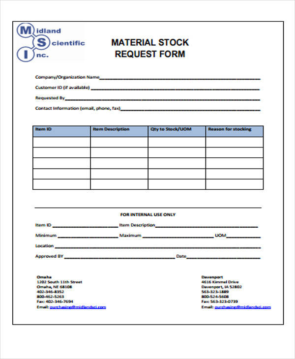 42 free requisition forms sample templates for Stock request form template