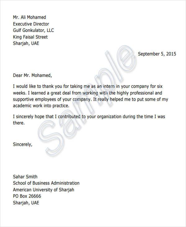 internship appreciation letter format