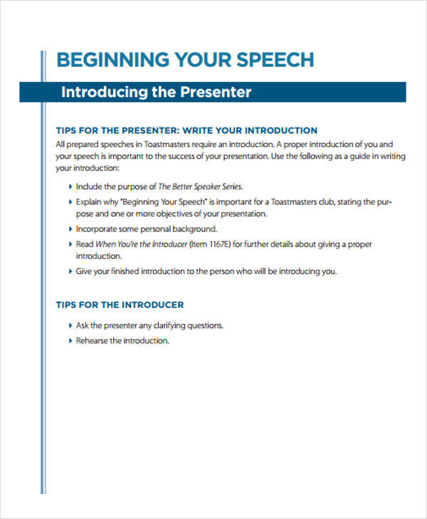 example introduction speech Introduction to research brainstorming tips speech examples writing a speech and performing a speech can be nerve racking.