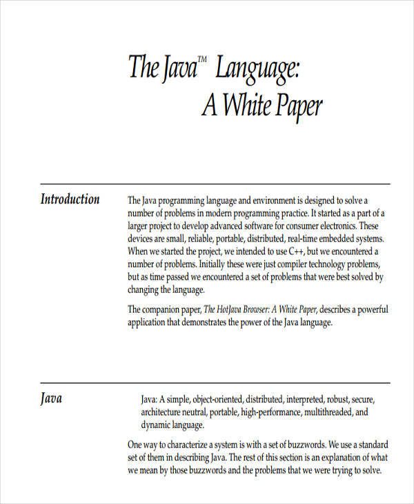 java language white paper