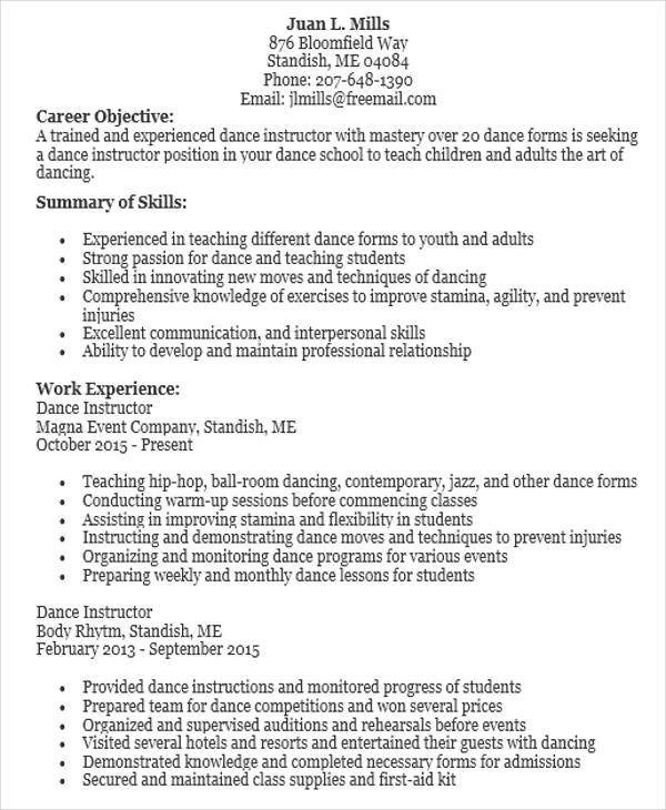 jazz dance teacher resume