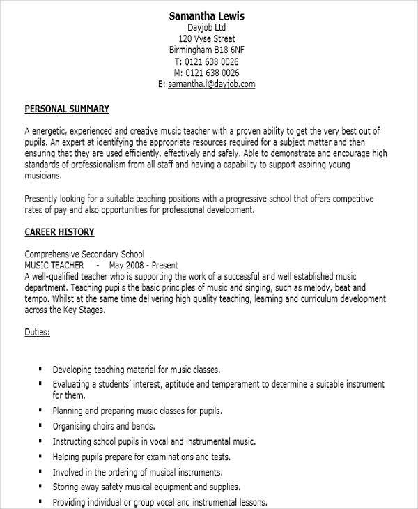 Music Resume Collection Of Solutions Sample Music Teacher Resume