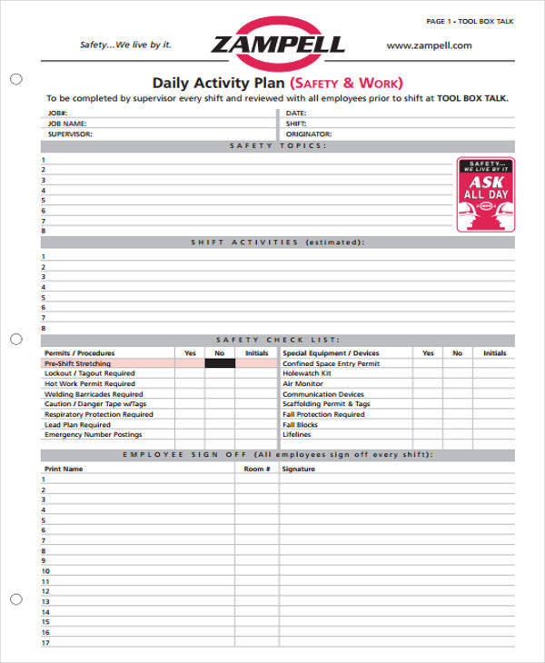 job activity log