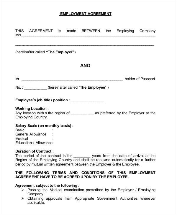 Job Agreement Contract. Job Agreement Contract Format Job