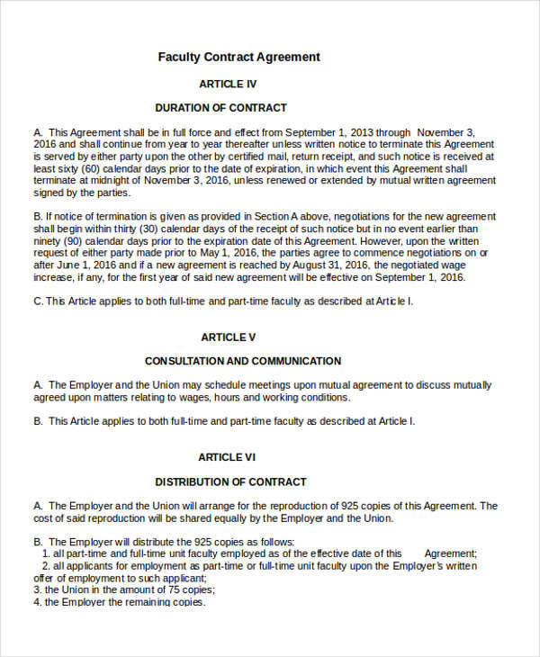 Job Contract Agreement For Faculty  Mutual Agreement Contract