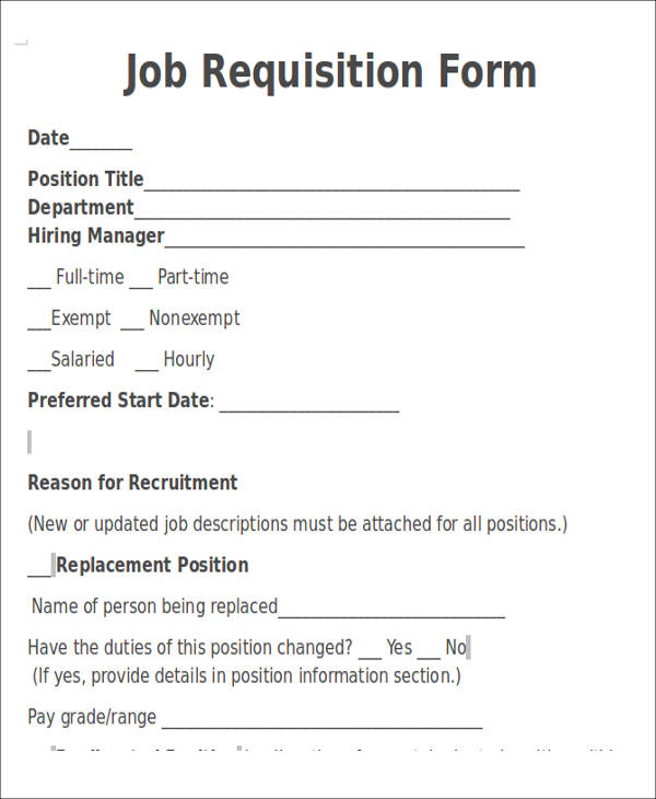 job opening requisition form