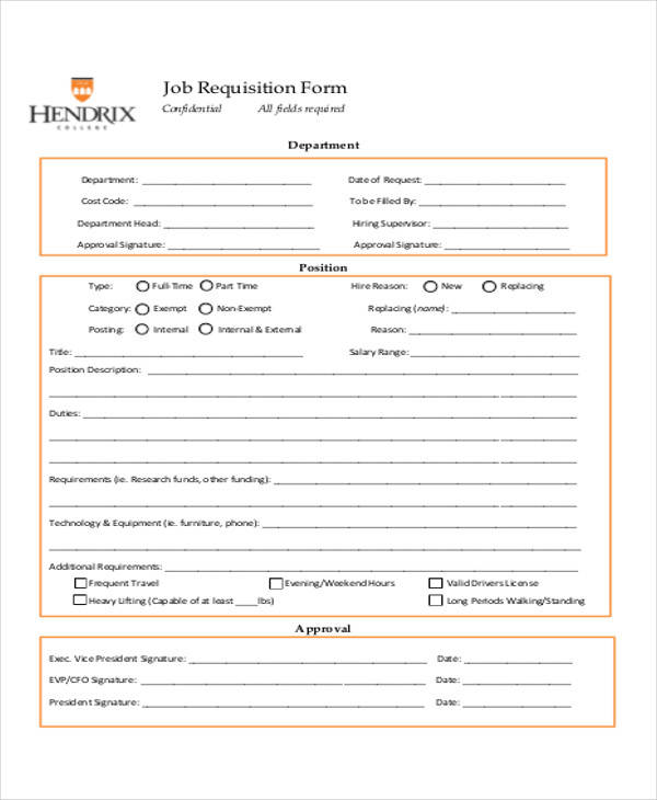 job requisition form example