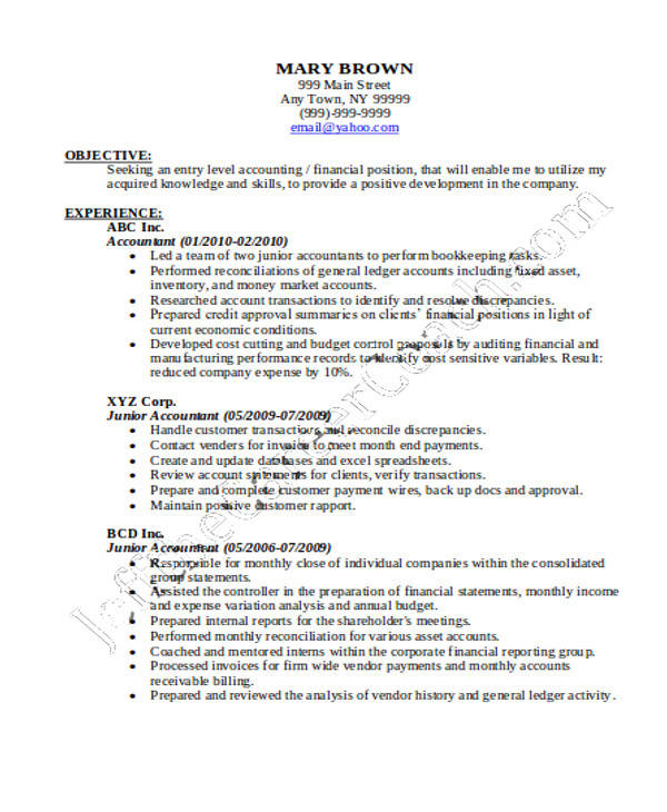 Junior Accountant Resume In PDF  Junior Accountant Resume