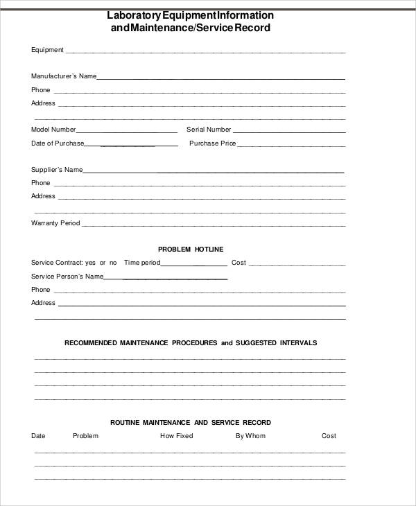 lab equipment maintenance form