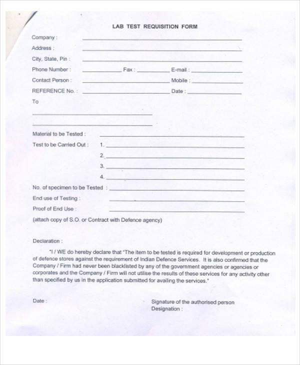 lab test requisition form