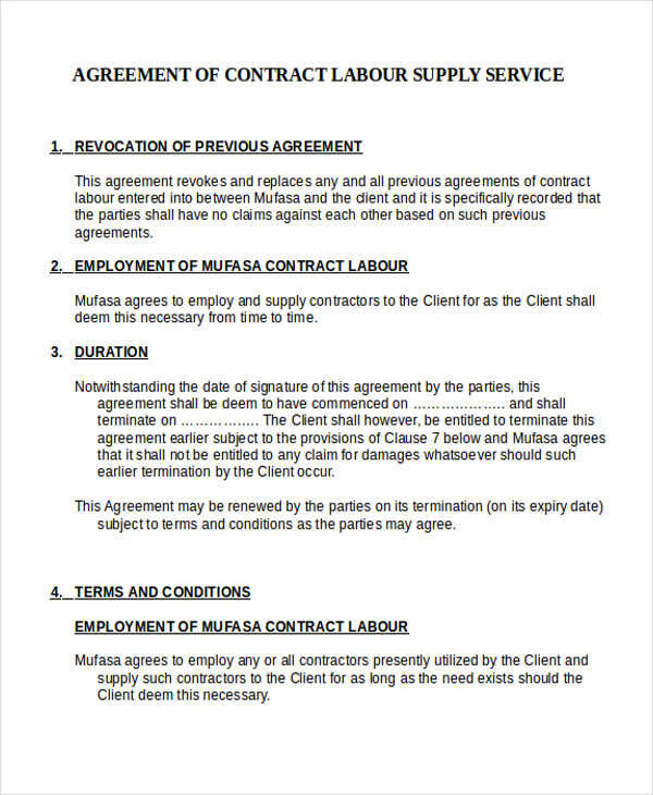Agreement For Labour Contract Independent Contractor Agreement
