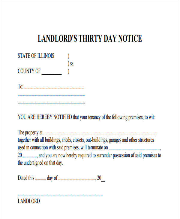 Landlord-30-Days-Eviction2  Day Tenant Notice Letter Template on lease termination letter, vacate california, sample letter, intent vacate,
