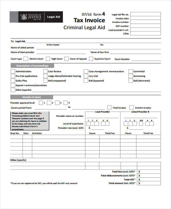Sample Printable Invoices