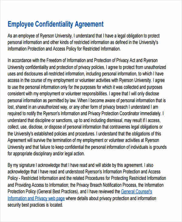 legal employee confidentiality agreement