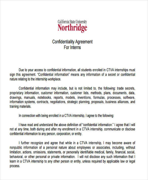 legal intern confidentiality agreement