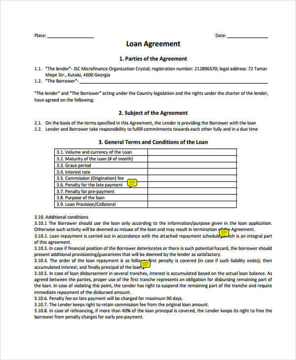 loan payment contract agreement