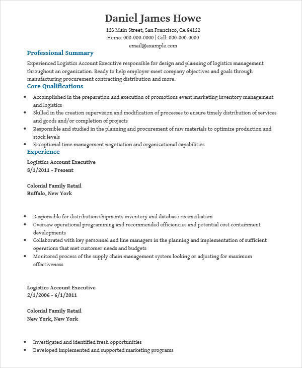 29 Executive Resumes In Word