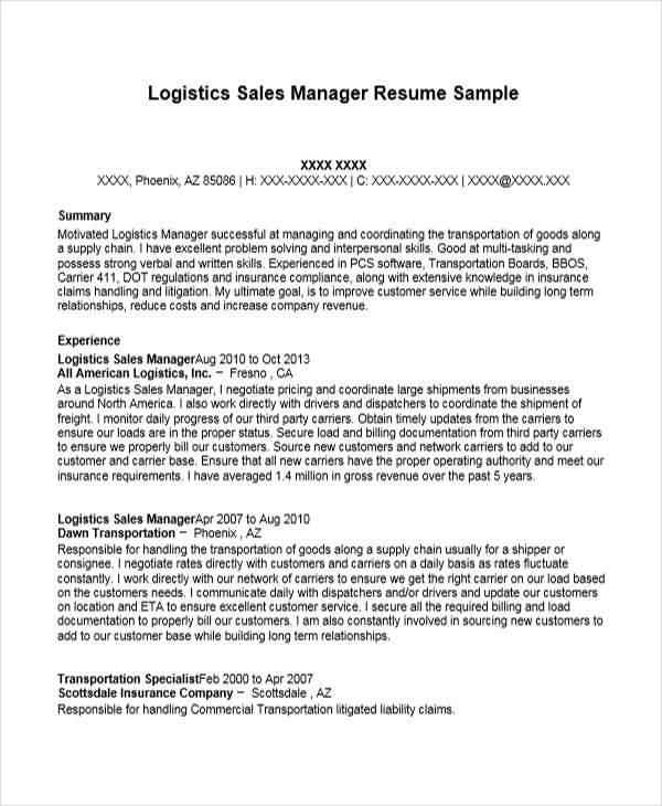 logistics sales manager