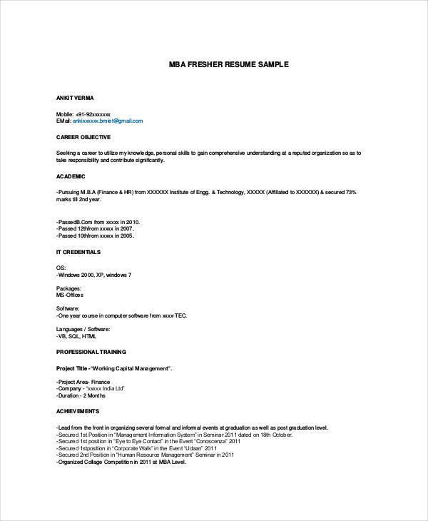 mba fresher resume format