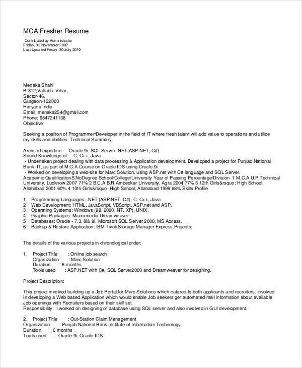 51 Resume Format Samples – Mca Resume Format