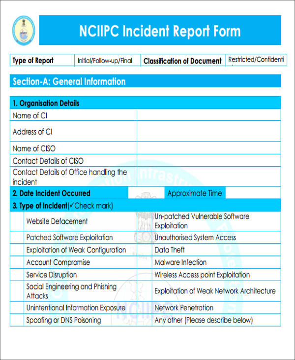 machine incident report format form