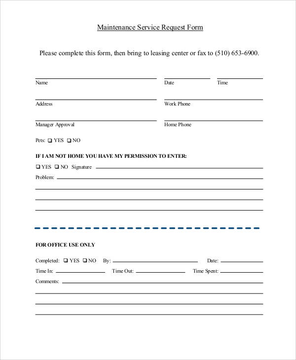 maintenance service request form