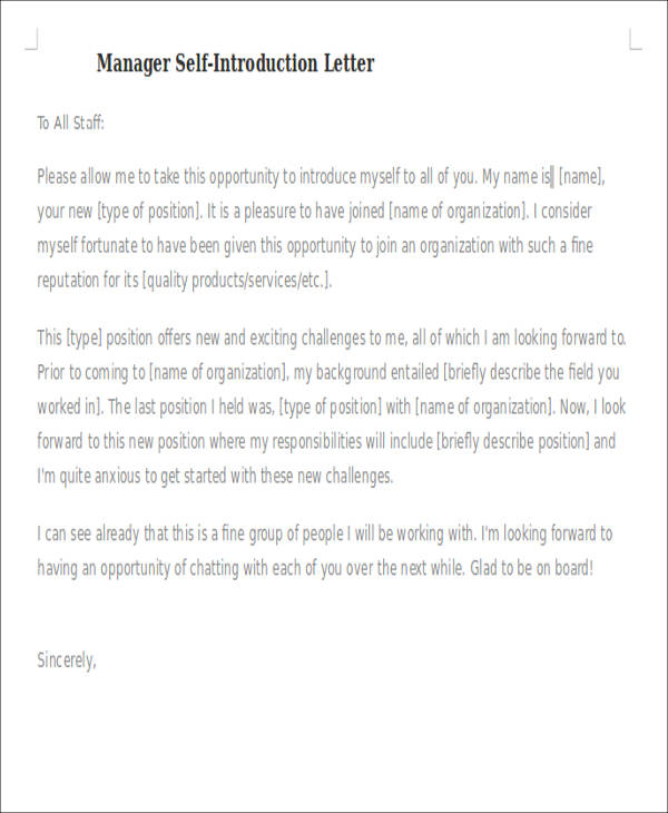 manager self introduction letter