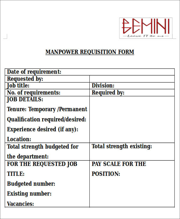 request manpower sample  22  Requisition Form Samples | Sample Templates