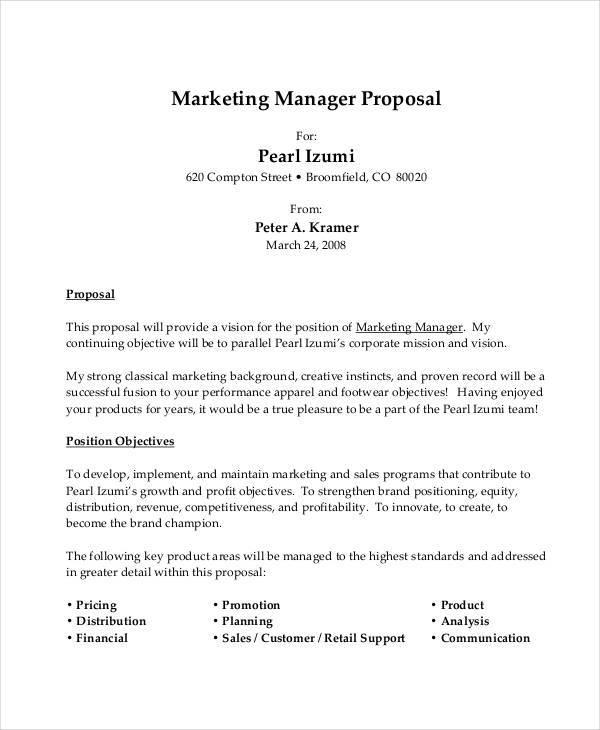 marketing manager job proposal