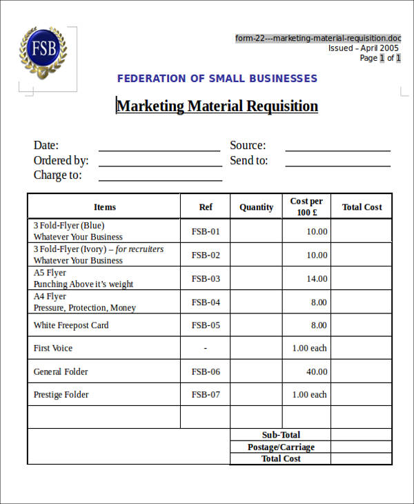 marketing material requisition form