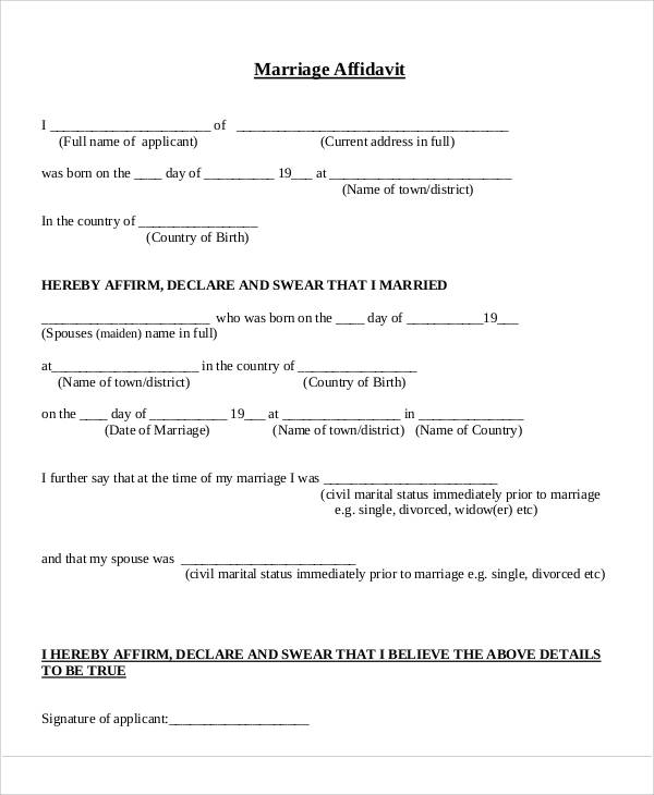 32 free affidavit forms sample templates marriage affidavit sample thecheapjerseys Choice Image