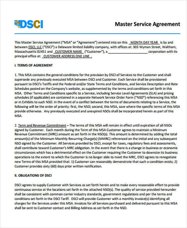 41 Free Sample Agreements – Sample Master Service Agreement