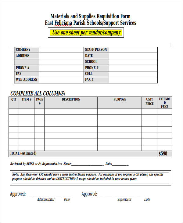 material supply requisition form