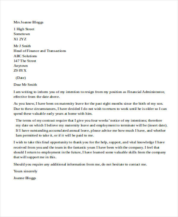 Resignation Letter Template  Free Word Pdf Documents Sample