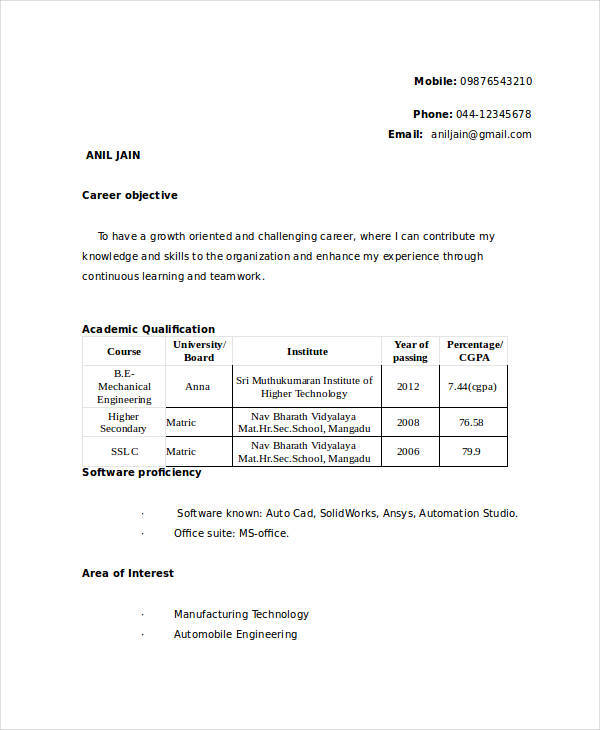 resume format for mechanical engineer fresher 28 images