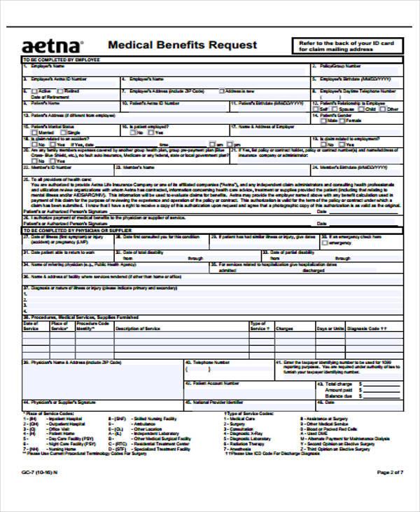 medical benefits claim form